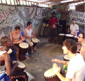 Futon Boutique Percussions and African dance workshop with the Yelemba troupe in the Ivory Coast, West Africa