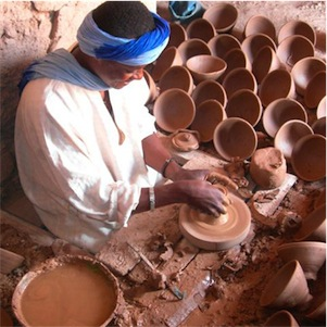 Futon Boutique Pottery workshop in the village of Tamegroute, Morocco